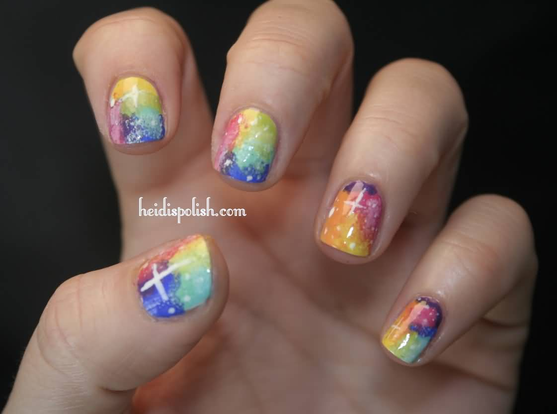 Nail Art Ideas » Rainbow Water Marble Nail Art - Pictures of Nail ...