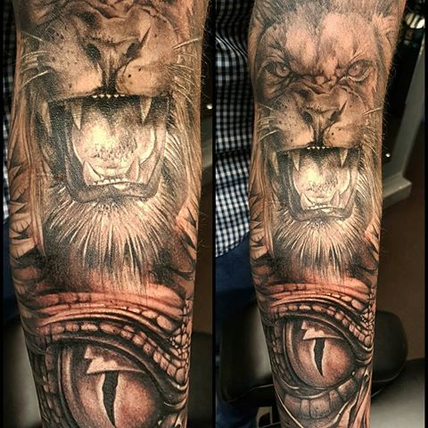 8d9f341683ccd Realistic Angry Lion With Reptile Eye Tattoo On Sleeve