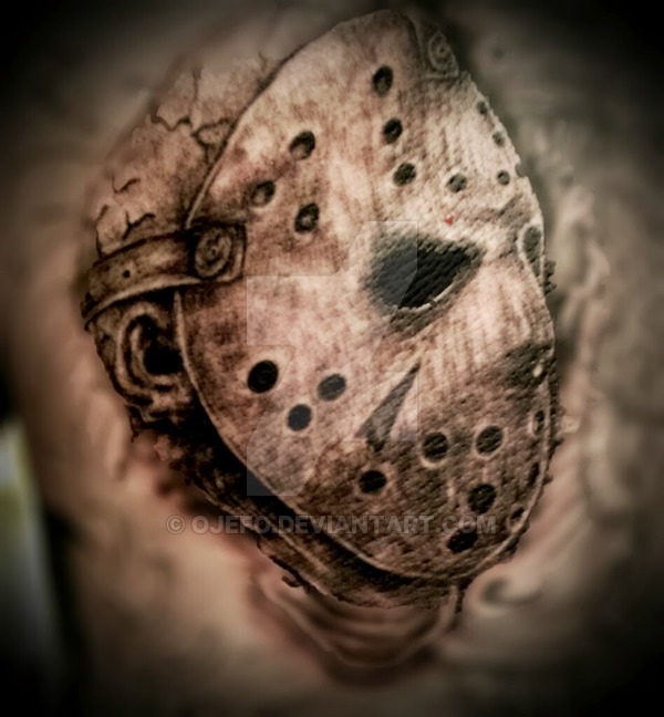 Realistic colored jason head tattoo design by ojefo