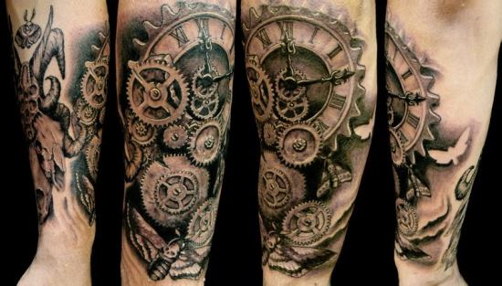 6bbabf4af Realistic Grey Mechanical Gears Watch Tattoo