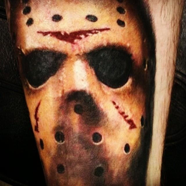 35 wonderful jason mask tattoos for Face mask tattoo