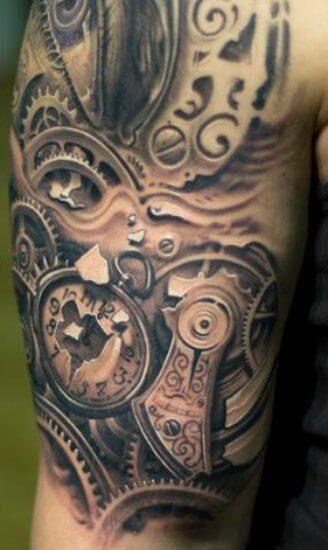 07f398f87 Realistic Mechanical Gears Tattoo On Half Sleeve