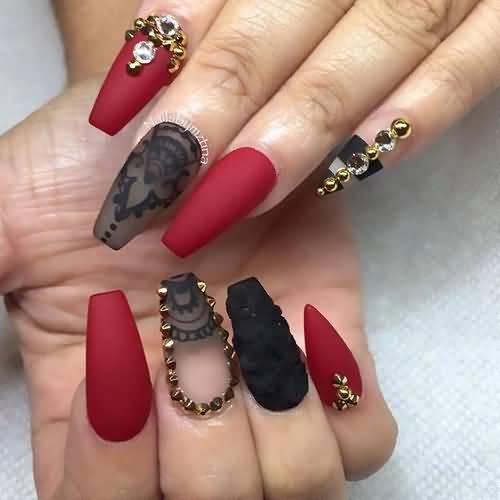 Nails Art Black And Red Stilettos: 55 Best Stiletto Nail Art Design Ideas