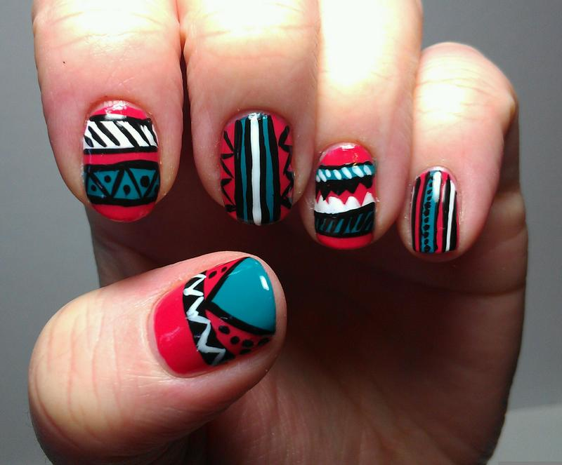 Red And Blue Tribal Nail Art Design Idea