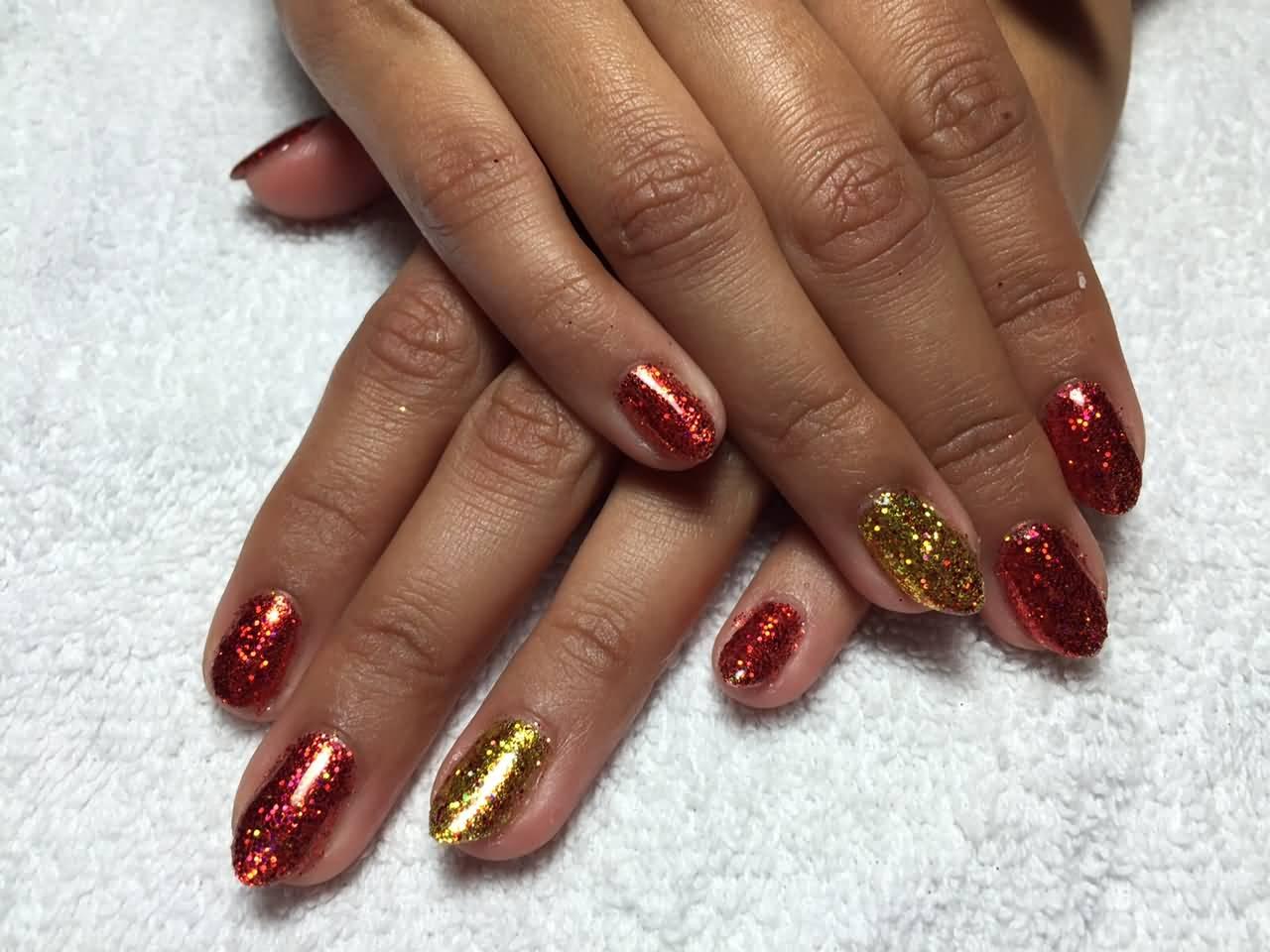 red and gold glitter nail art design idea - Nail Art Design Ideas