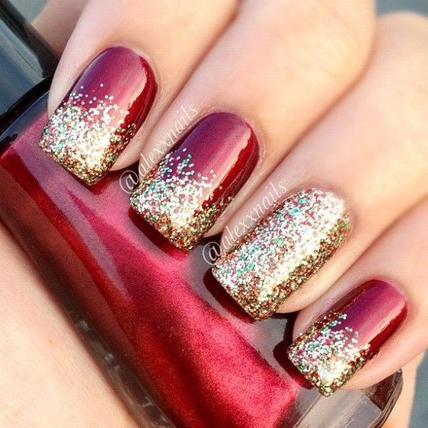 Red And Gold Glitter Nail Art