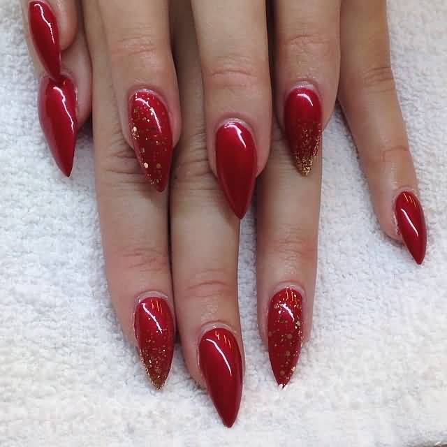 Nails Art Black And Red Stilettos: 40+ Most Stylish Red Stiletto Nail Art Ideas