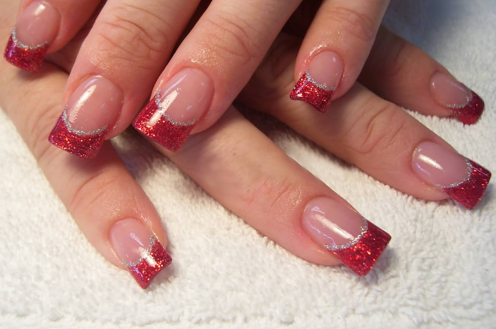 Red Glitter French Tip Nail Art