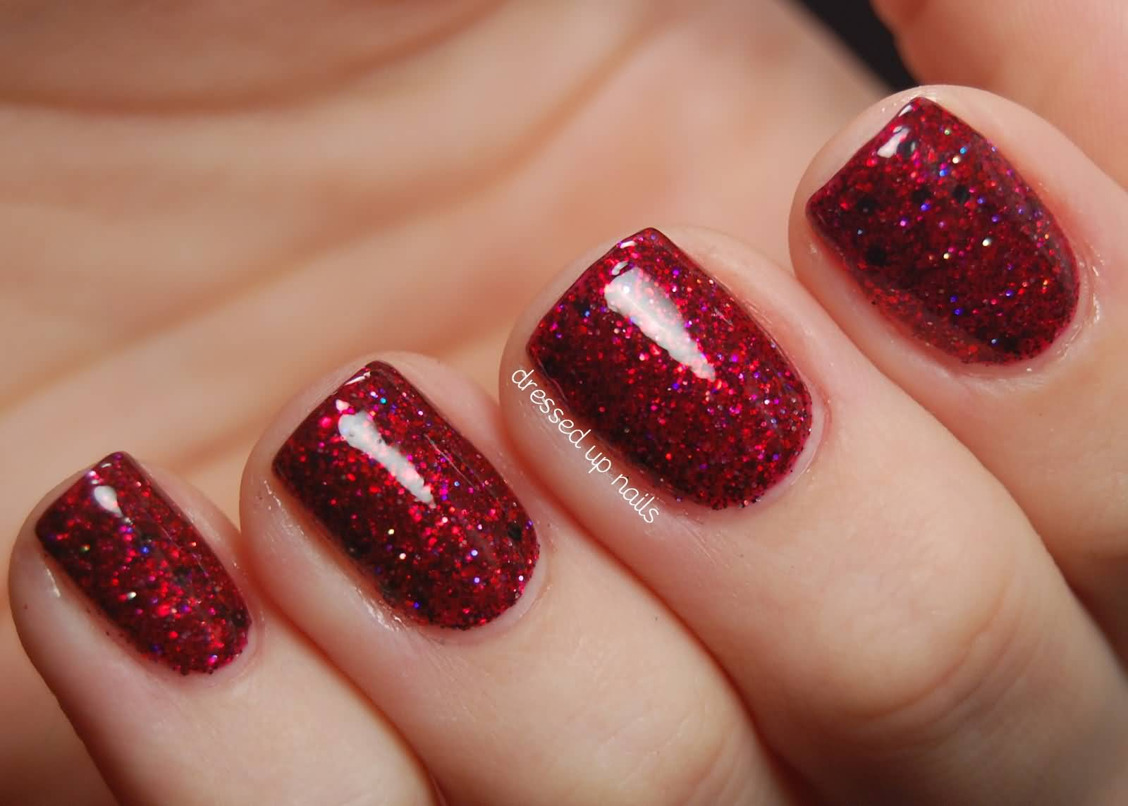 Red Glitter Gel Nail Art Design Idea