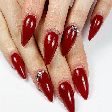 Red Glossy Stiletto Nail Art With Rhinestones Design Idea