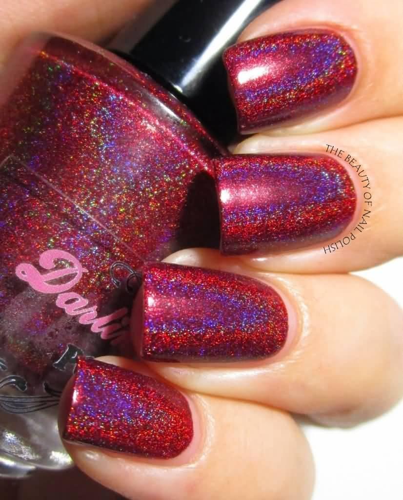 Red Hologram Nail Art Design Idea