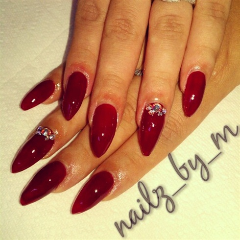 Red Stiletto Nail Art With Rhinestones Design Idea