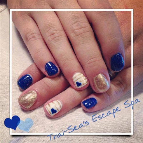 Nail Art Designs Blue And Gold