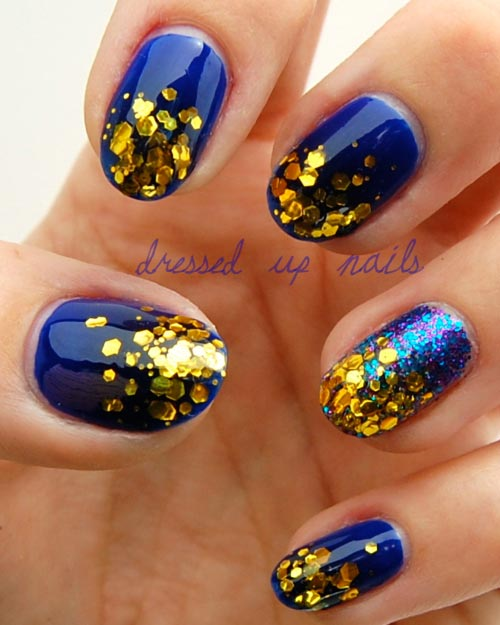 Royal Blue And Gold Glitter Nail Design Idea - 81 Cool Royal Blue Nail Art Design Ideas For Trendy Girls