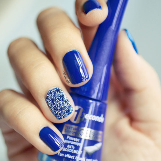 81 cool royal blue nail art design ideas for trendy girls royal blue and white caviar beads nail art prinsesfo Choice Image