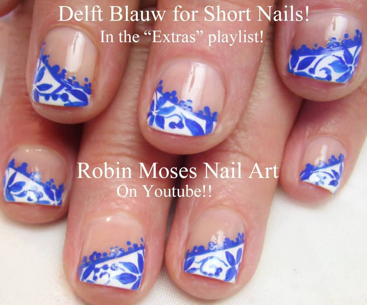 81 cool royal blue nail art design ideas for trendy girls royal blue flowers on white nail tip nail art design prinsesfo Choice Image