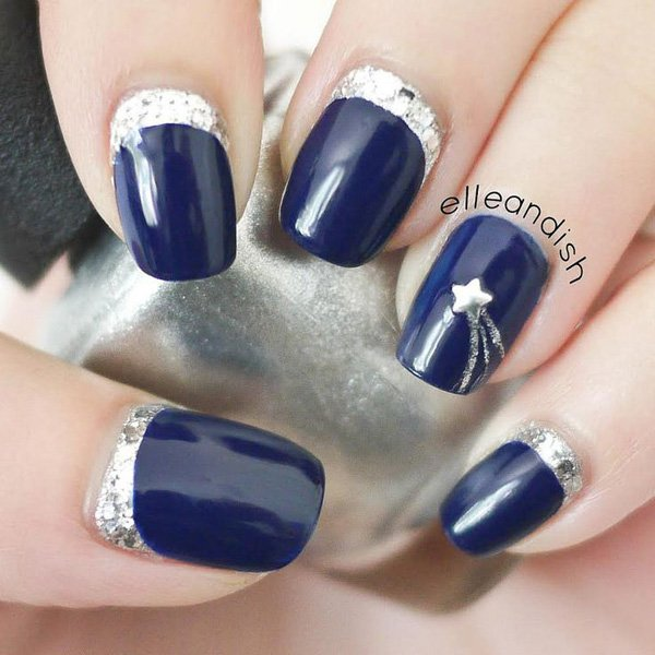 Royal Blue Nails With Silver Reverse French Tip And Star Stud Design Idea