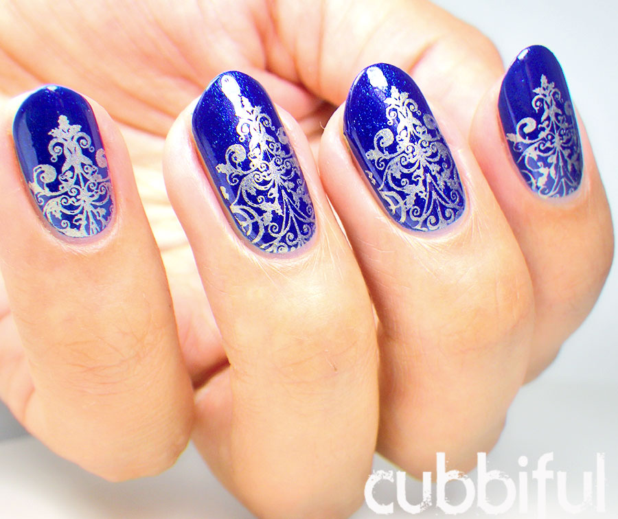 Blue and gold nail designs graham reid royal blue nails with silver stamping design idea 81 cool royal blue nail art design prinsesfo Images