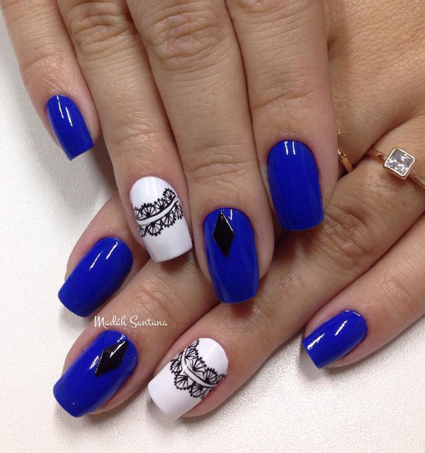 Royal Blue Nails With White And Black Lace Design Nail Art - 81 Cool Royal Blue Nail Art Design Ideas For Trendy Girls