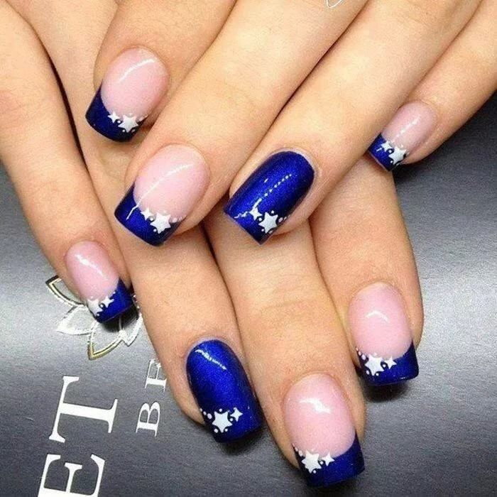 Royal Blue Nails With White Stars Design Idea - 81 Cool Royal Blue Nail Art Design Ideas For Trendy Girls