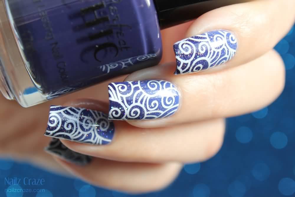 81 cool royal blue nail art design ideas for trendy girls royal blue nails with white swirls design nail art prinsesfo Choice Image