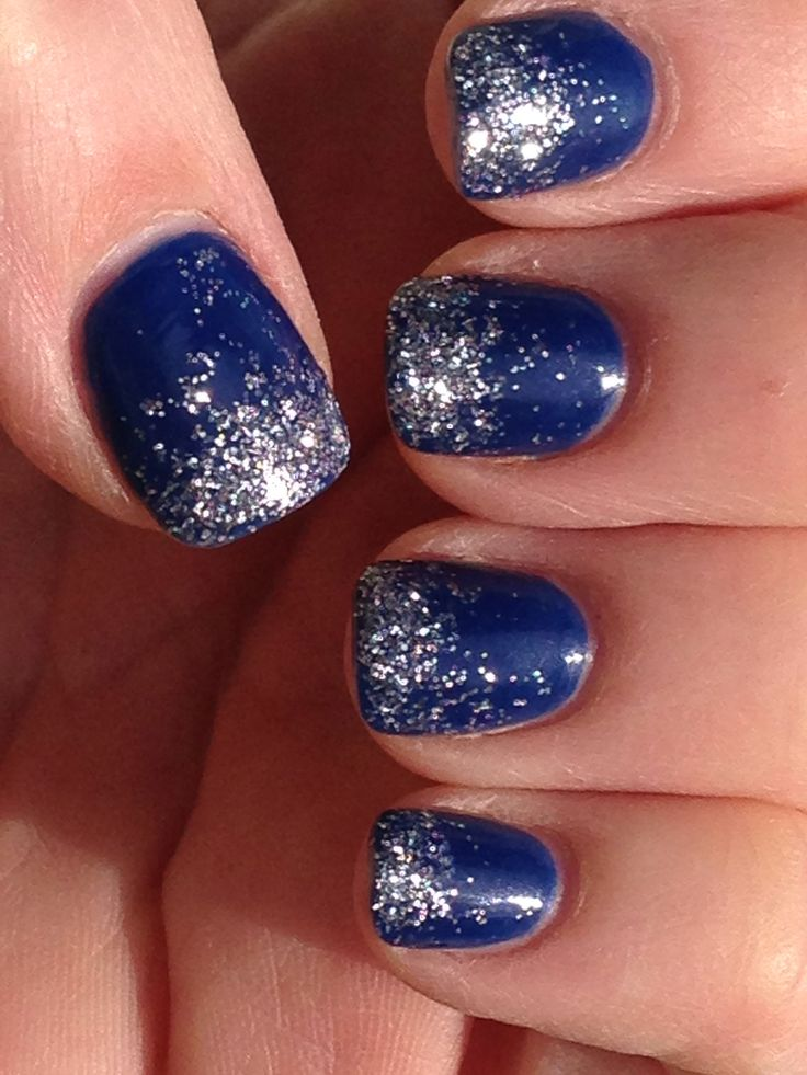 82 best blue and silver nail art design ideas royal blue with silver glitter french tip nail art prinsesfo Images