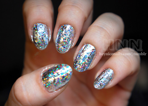 Shimmering Hologram Glitter Nail Art