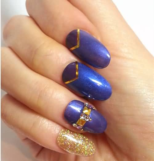 Shiny Blue Nails With Golden Glitter Gel Nail Art