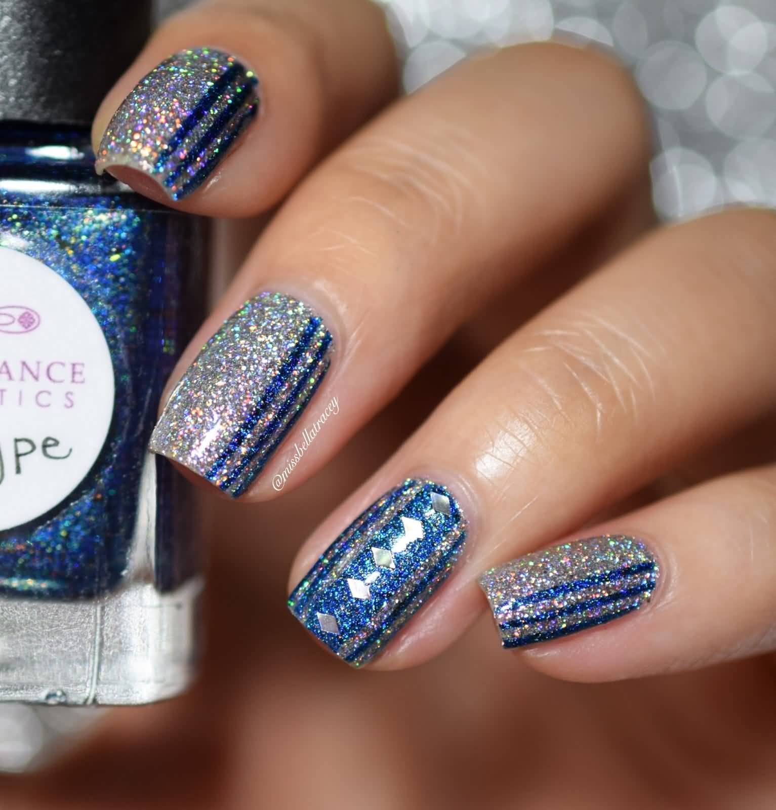 Nail Art Images Blue: 82 Best Blue And Silver Nail Art Design Ideas