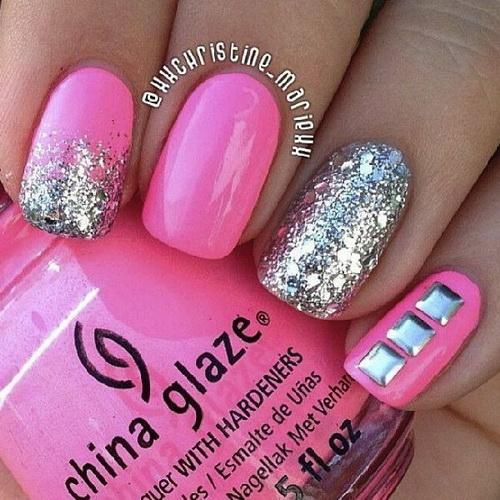 Nail Art Ideas In Pink: 60 Most Beautiful Glitter Nail Art Ideas