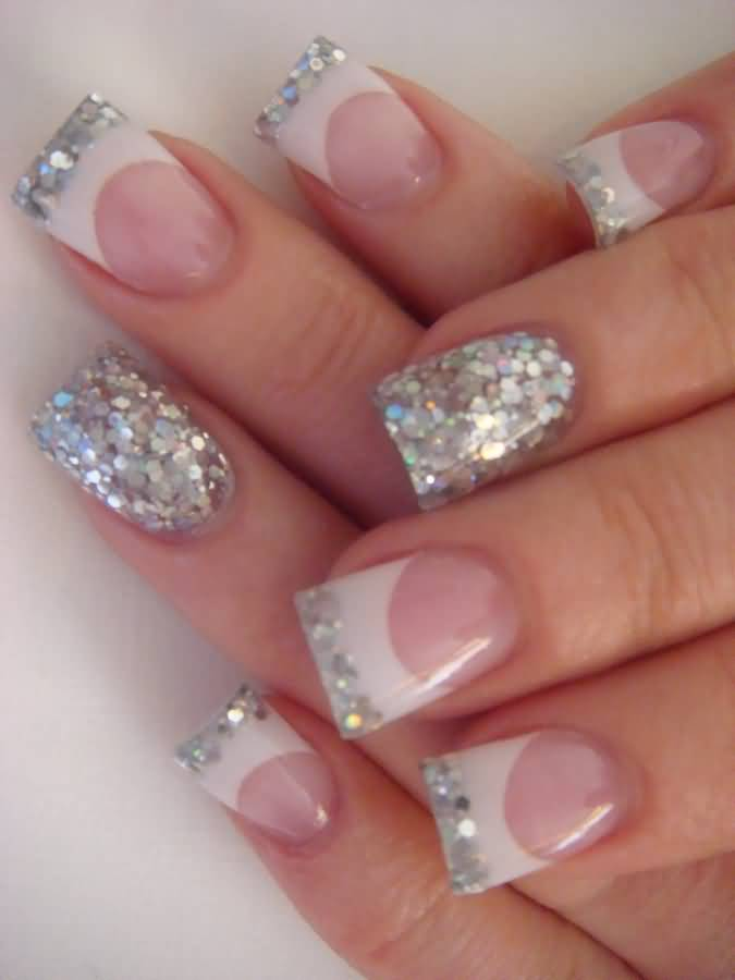 40 most amazing glitter french tip nail art design idea silver glitter french tip nail design prinsesfo Gallery