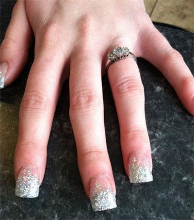 60 most beautiful glitter nail art ideas silver glitter wedding nail design idea prinsesfo Image collections