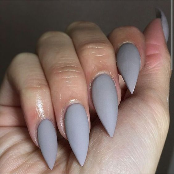 Simple Grey Matte Stiletto Nail Art Design - 55 Most Stylish Matte Stiletto Nail Art Designs