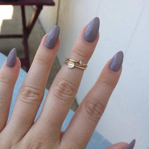 Simple Grey Stiletto Nail Art Design Idea