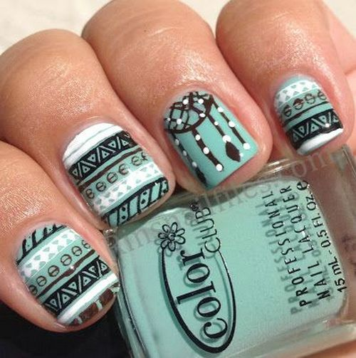 60 most stylish tribal nail art design idea simple tribal nail art with dreamcatcher design prinsesfo Image collections