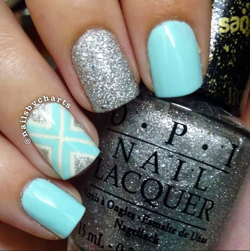 Sky Blue And Silver Glitter Nail Art Design Idea - 82 Best Blue And Silver Nail Art Design Ideas