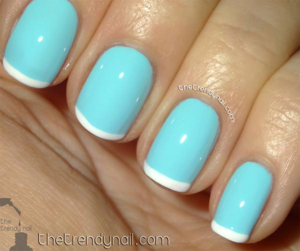 Sky Blue Nails With White Tip Design Idea