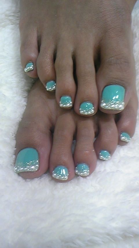 Sky Blue Toe Nails With Silver Glitter French Tip Nail Art