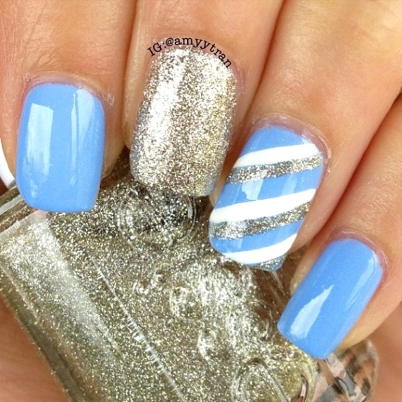 Sky Blue With Silver And White Stripes Design Nail Art - 82 Best Blue And Silver Nail Art Design Ideas