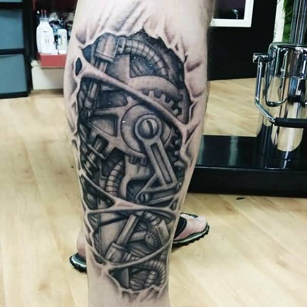 8c8d8ac30 Superb 3D Grey Mechanical Gears Tattoo On Leg