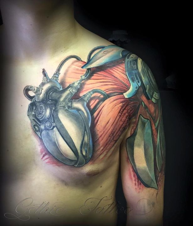 14+ Mechanical Tattoos On Chest
