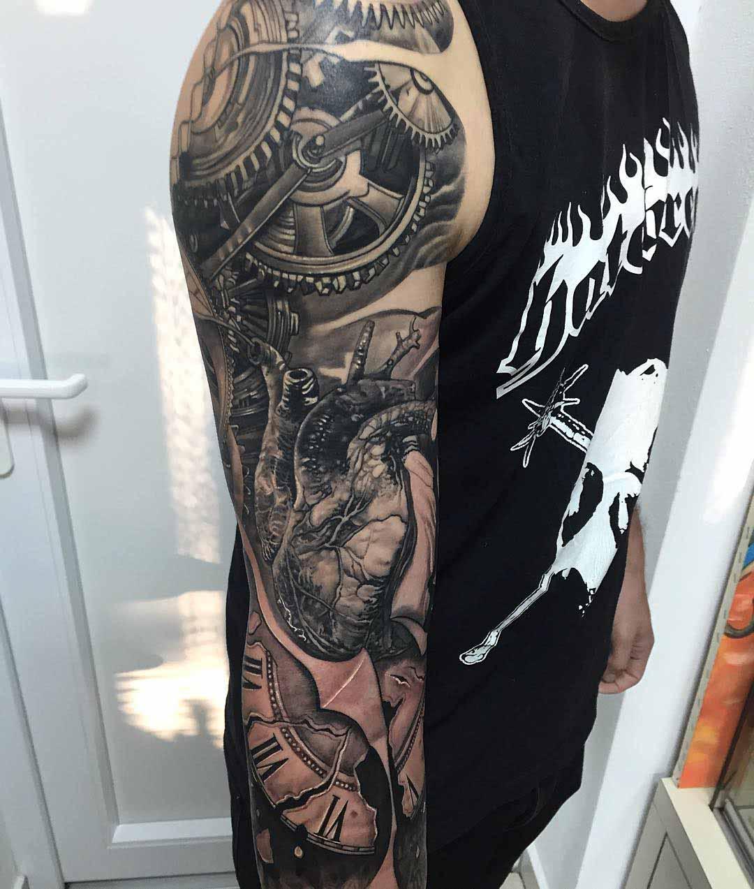Tattoo gear tattoo sleeve mechanic tattoo mechanical tattoo gears - Superb Grey Mechanical Sleeve Tattoo For Men