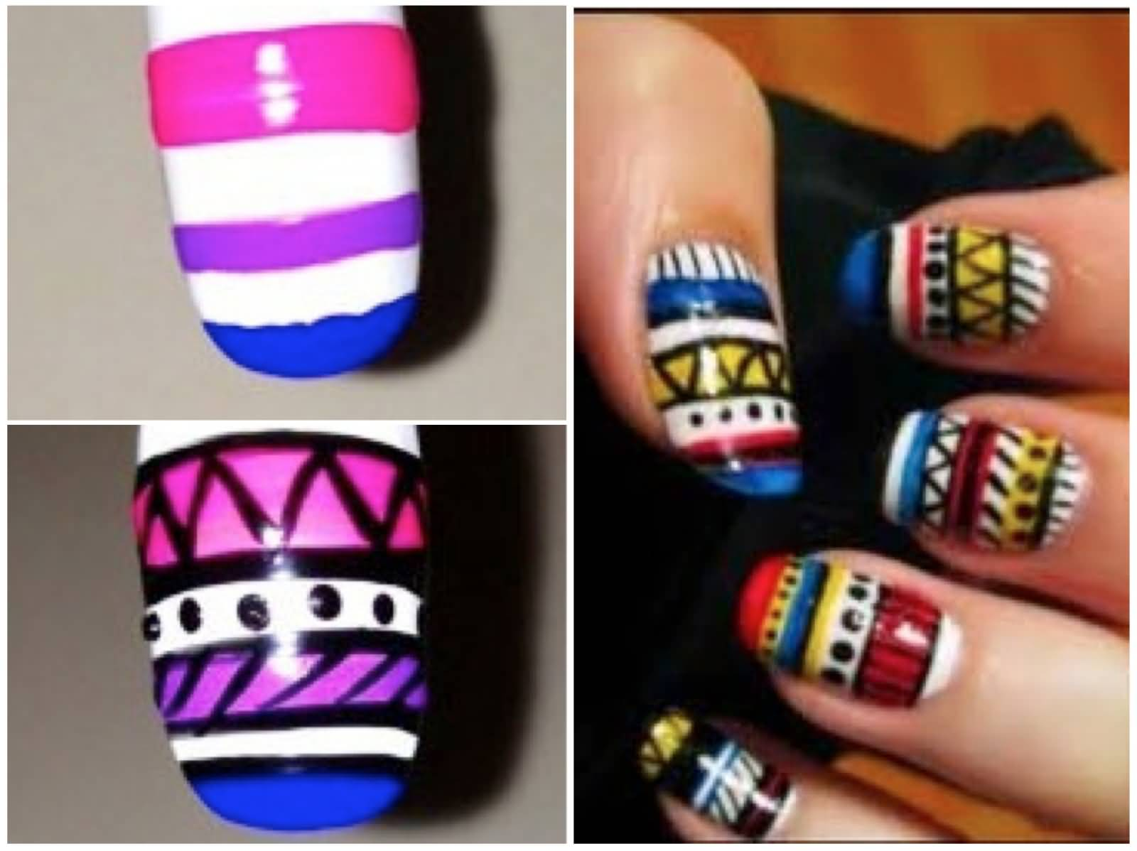 Tribal nail art tutorial design idea prinsesfo Image collections