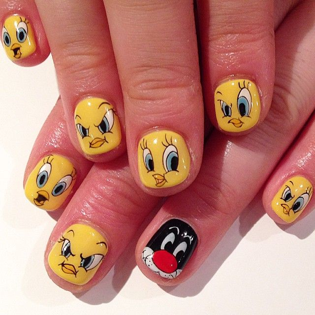 60 most beautiful cartoon nail art design ideas tweety and sylvester cartoon nail art prinsesfo Images