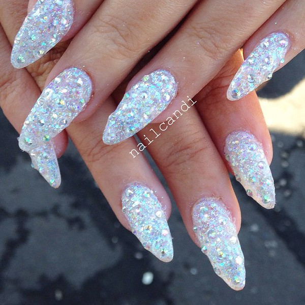 Ultra Holographic Silver Glitter Stiletto Nail Art