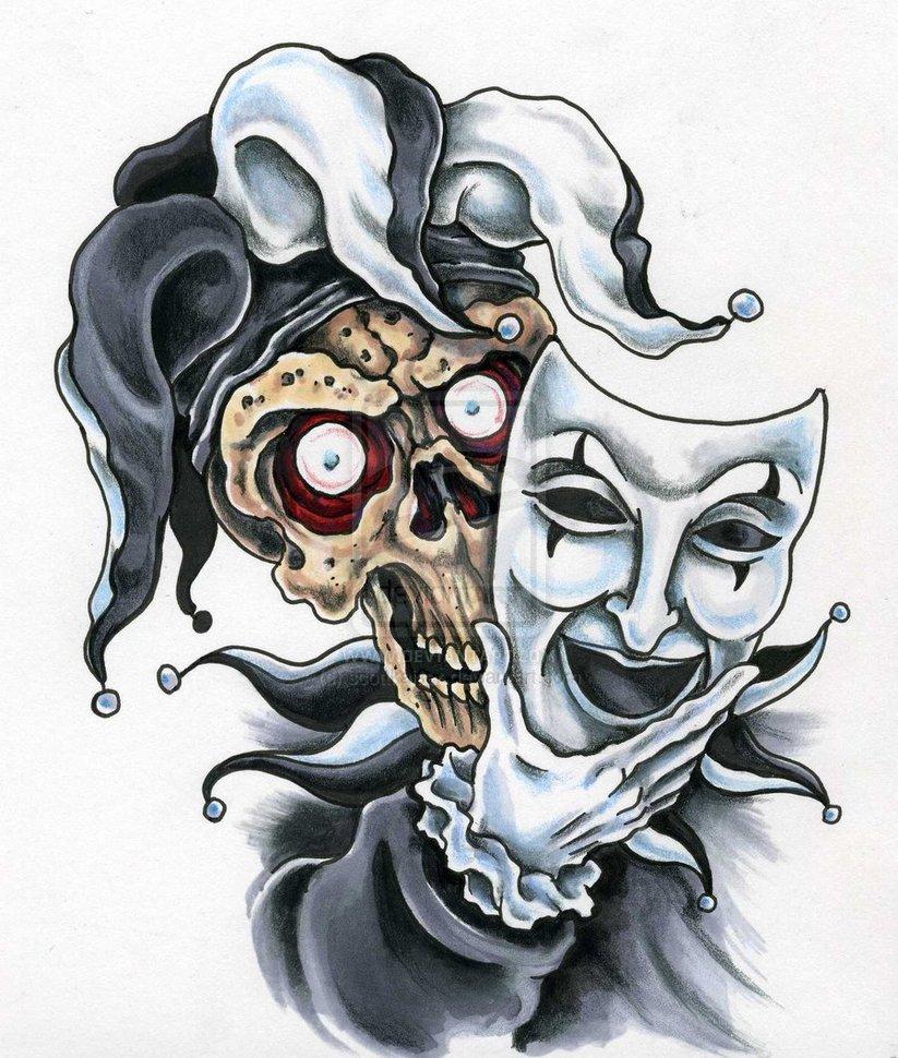 20 jester mask tattoos. Black Bedroom Furniture Sets. Home Design Ideas