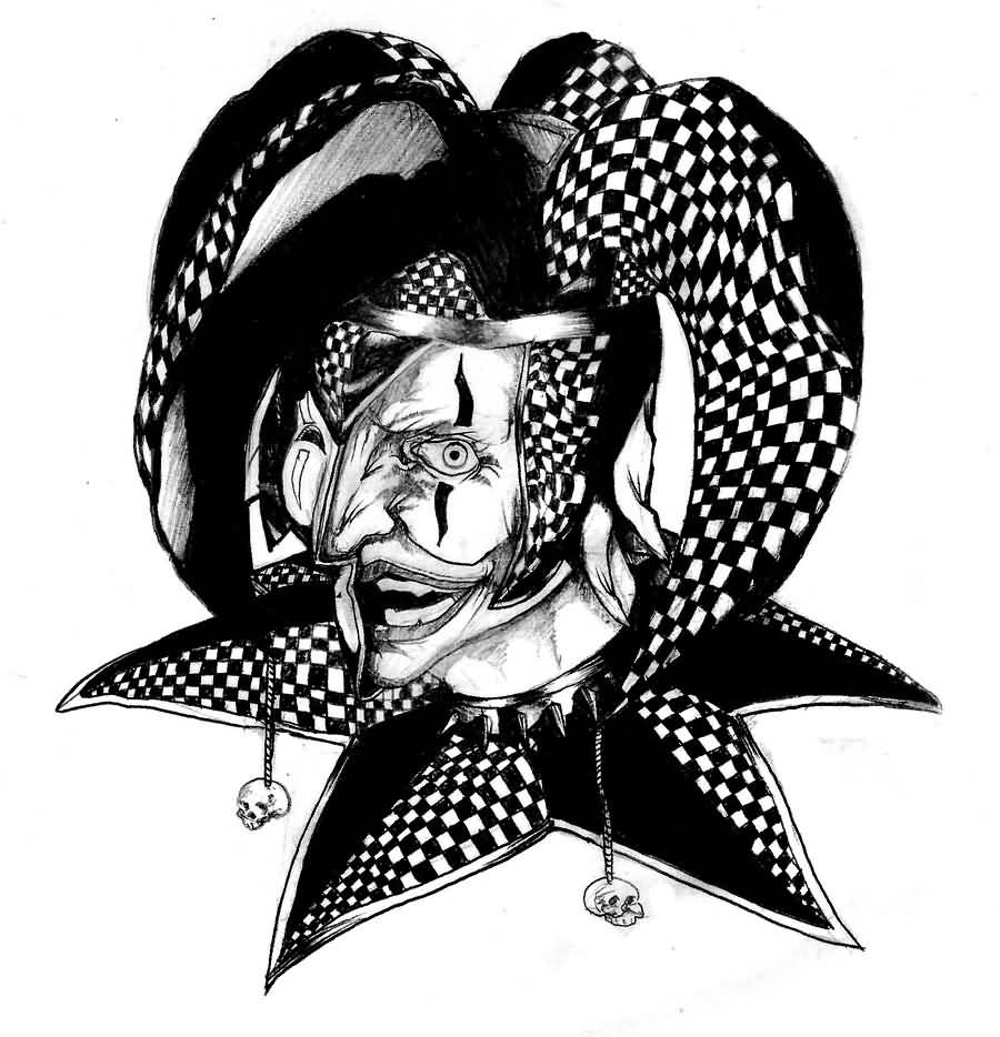 Very Nice Wicked Jester Laughing Tattoo Design By StudioBadguy
