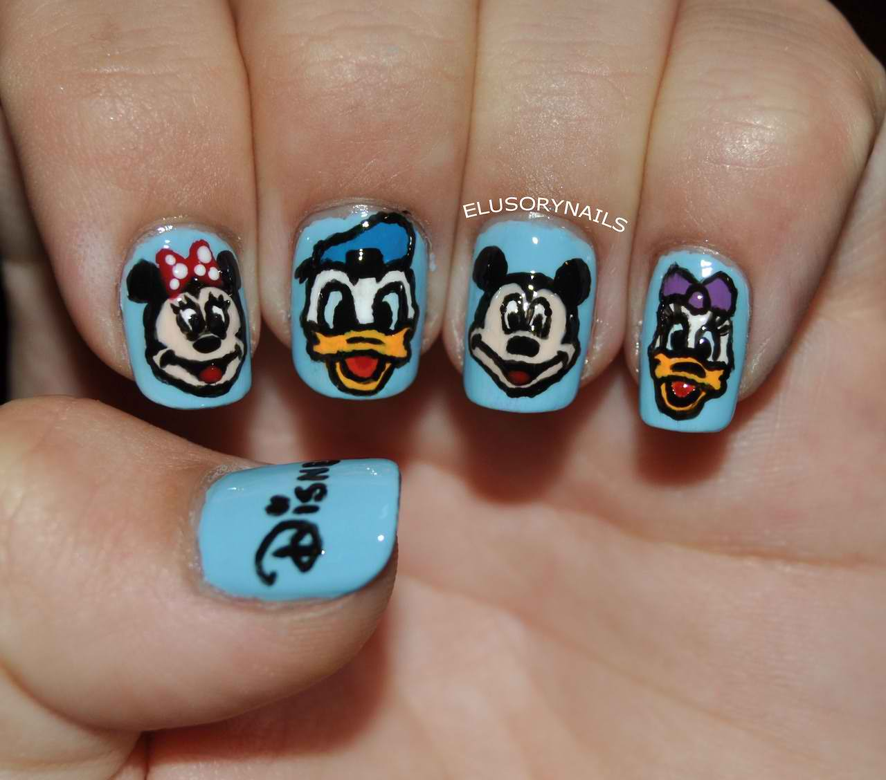 Piggieluv 3d Pull The Curtain Nail Art: Nail Art Cartoon Characters