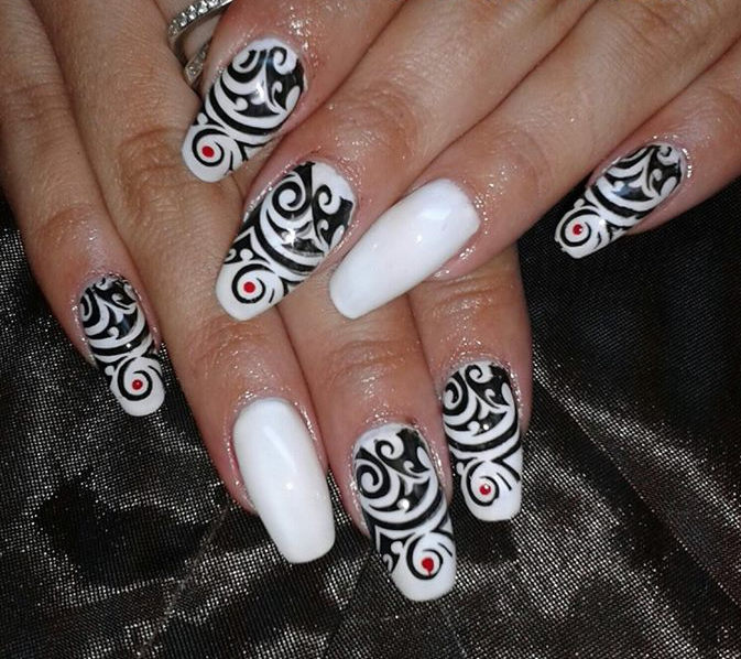 eccbc246f White And Black Tribal Nail Art Design Idea