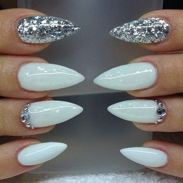 White Gel And Silver Glitter Stiletto Nail Art Design Idea